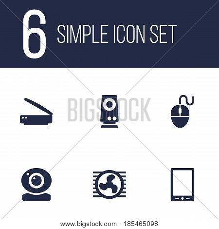 Set Of 6 Laptop Icons Set.Collection Of Control Device, Record, Palmtop And Other Elements.