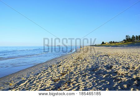 Early Morning Joggers Along The Beach