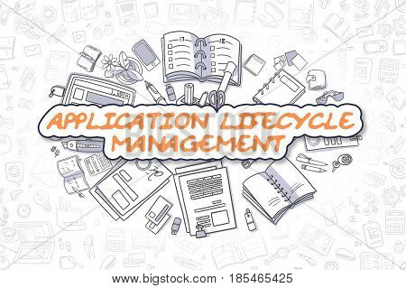 Application Lifecycle Management Doodle Illustration of Orange Word and Stationery Surrounded by Doodle Icons. Business Concept for Web Banners and Printed Materials.