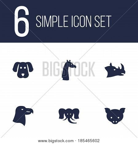 Set Of 6 Alive Icons Set.Collection Of Camelopard, Rhinoceros, Hog And Other Elements.