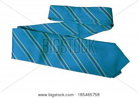 Object Necktie Blue color on white background.