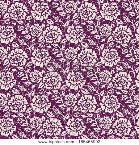 Seamless white and red lace background with floral pattern