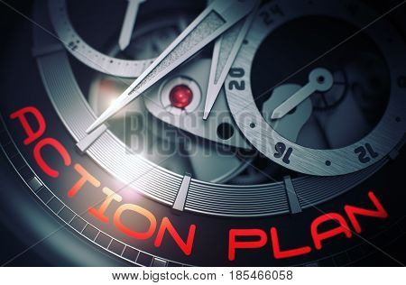 Gears and Mainspring in the Mechanism of a Wristwatch with Action Plan on Face of It. Business Concept with Glowing Light Effect. 3D Rendering.