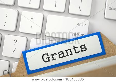 Grants Concept. Word on Orange Folder Register of Card Index. Closeup View. Blurred Illustration. 3D Rendering.