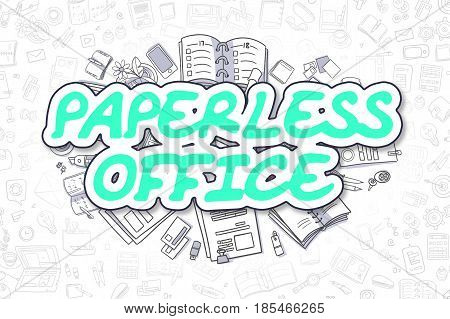 Paperless Office Doodle Illustration of Green Inscription and Stationery Surrounded by Doodle Icons. Business Concept for Web Banners and Printed Materials.