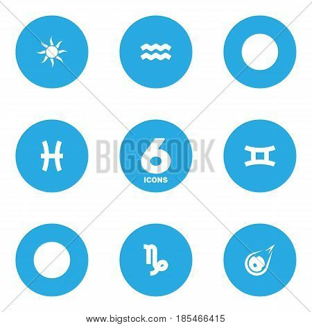 Set Of 6 Astronomy Icons Set.Collection Of Comet, Goat, Water Bearer And Other Elements.