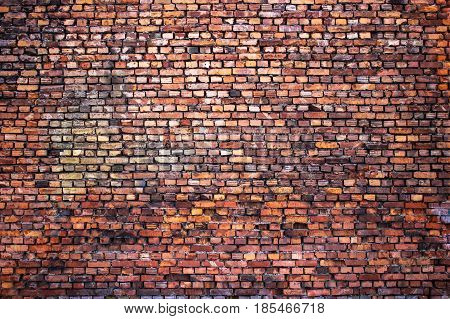 Grunge Brick Wall, Red Texture, Background Weathered Surface