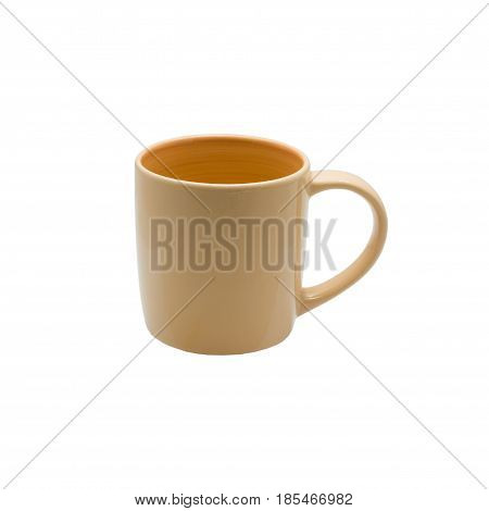 Ceramic brown glass isolated On a white backgroundColorful coffee mugwith clipping path