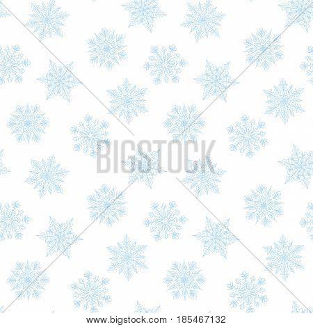 White seamless snowflakes pattern on white background for Christmas design