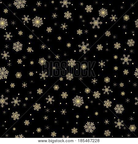 Golden seamless snowflakes pattern on black background for Christmas design