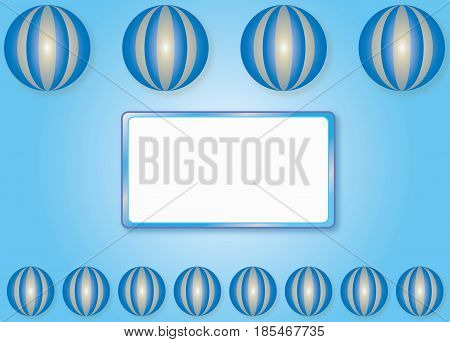 Blue ecological background with white frame for your text in vector format.