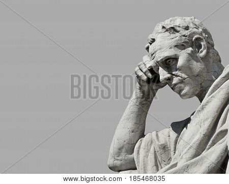 Julian the jurist statue in the act of thinking from Old Palace of Justice in Rome (Black and White with copy space)