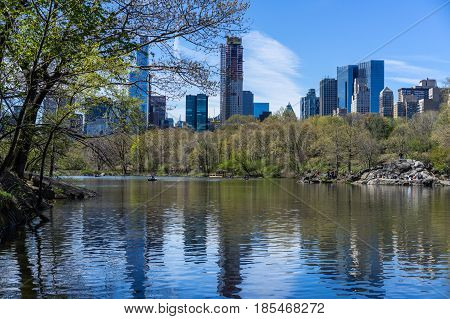 Beautiful day in Central Park next to the lake