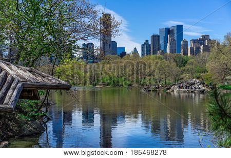 New York NY USA - April 23 2017. People enjoy beautiful Spring day in Central Park New York