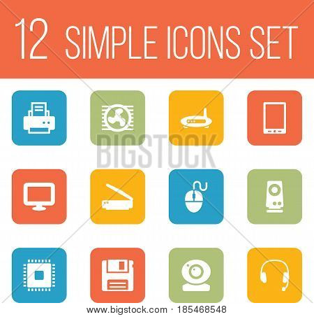 Set Of 12 Laptop Icons Set.Collection Of Router, Peripheral, Amplifier And Other Elements.