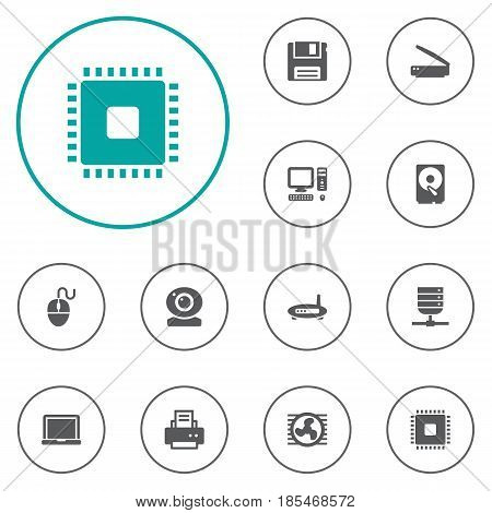 Set Of 12 Computer Icons Set.Collection Of Datacenter, Laptop, Control Device And Other Elements.