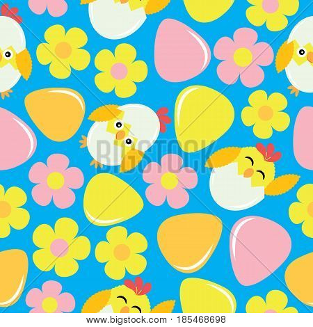 Cute chick, flower, and eggs on blue background vector cartoon, Easter seamless pattern, wallpaper, and greeting card, T-shirt design for kids