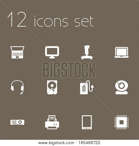 Set Of 12 Computer Icons Set.Collection Of Microprocessor, Peripheral, Display And Other Elements.