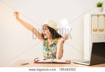 Business Lady Successful Booking The Ticket