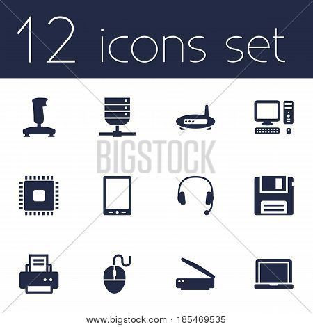 Set Of 12 Notebook Icons Set.Collection Of Peripheral, Diskette, Computer And Other Elements.