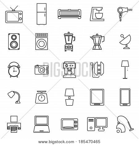 Household line icons on white background, stock vector
