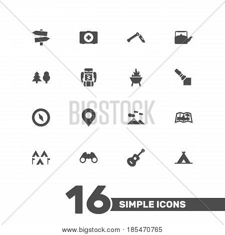 Set Of 16 Picnic Icons Set.Collection Of Jackknife, Magnet Navigatior, Signpost And Other Elements.