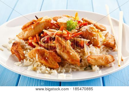 Chicken meat with rice