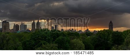 View of upper west side Manhattan Skyline before raindrop