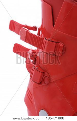 Red Ski boot against a white background