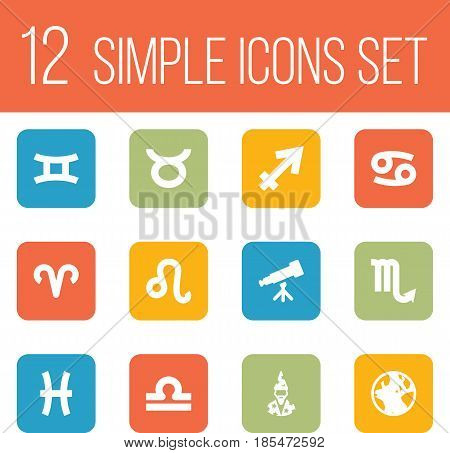 Set Of 12 Astrology Icons Set.Collection Of Lion, Earth Planet, Bull And Other Elements.