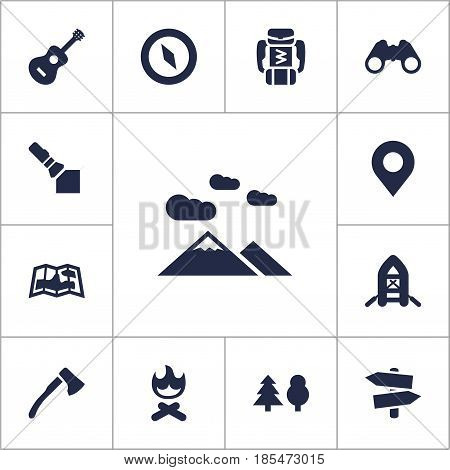 Set Of 13 Picnic Icons Set.Collection Of Inflatable Raft, Tree, Signpost And Other Elements.