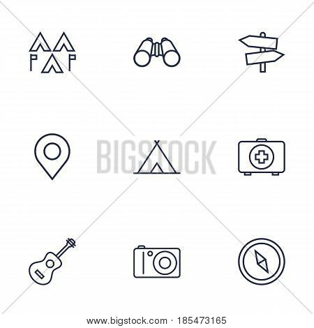 Set Of 9 Picnic Outline Icons Set.Collection Of Binoculars, Encampment, Photographing And Other Elements.