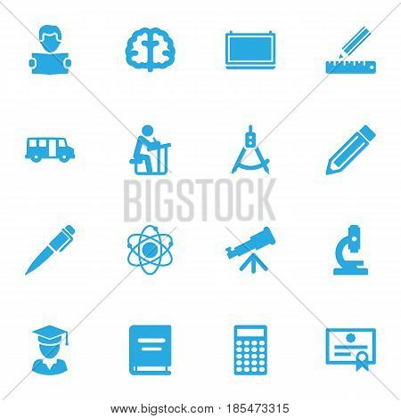 Set Of 16 Education Icons Set.Collection Of Textbook, Reading, Microbiology And Other Elements.