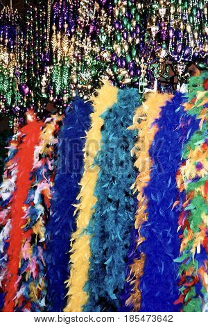 Multi colored tinsel in French Quarter of New Orleans Louisiana USA
