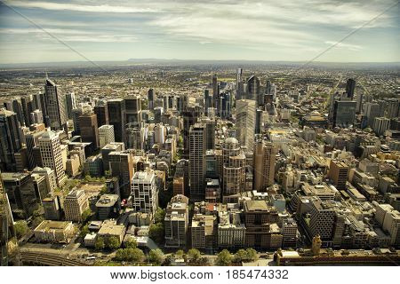 Aerial view of buildings  in Downtown Melbourne over the Yarra river in Australia