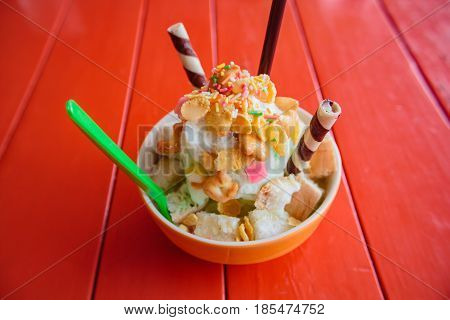 Shaved Ice, Thai Style Dessert.