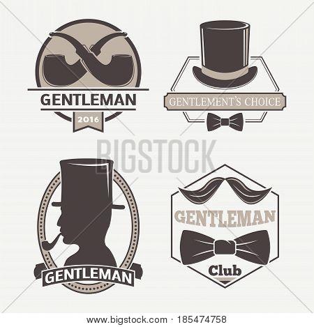 Vintage style design hipster gentleman logo vector illustration badge antique graphic design mustache element. Premium quality man shop stamp classic haircut fashion moustache barber sign.