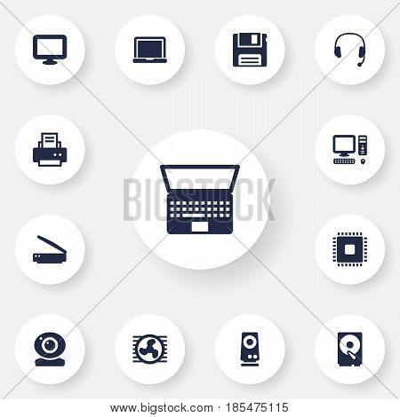 Set Of 13 Laptop Icons Set.Collection Of Diskette, Headset, Peripheral And Other Elements.