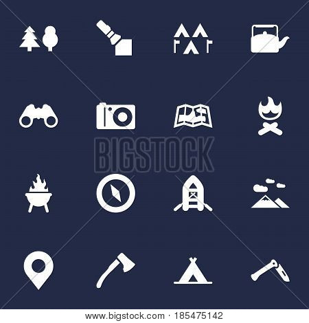 Set Of 16 Outdoor Icons Set.Collection Of Bbq, Jackknife, Tent And Other Elements.