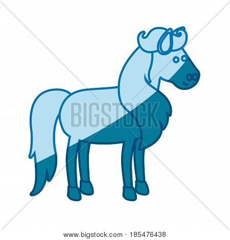 blue silhouette of horse with mane and tail vector illustration