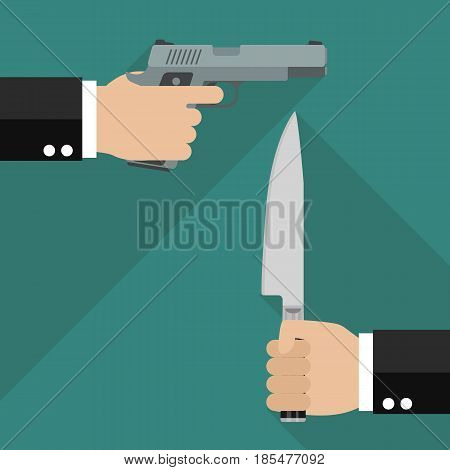 Man hold gun and man hold knife. Business competition