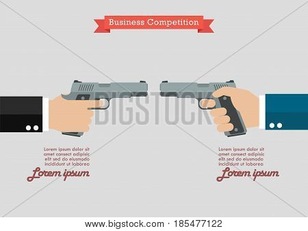 Two hands holding handguns infographic. Business competition concept