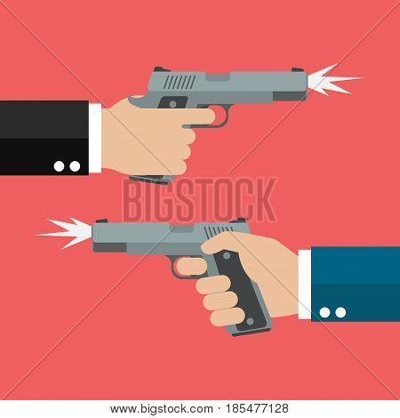Two hands holding handguns. Business competition concept