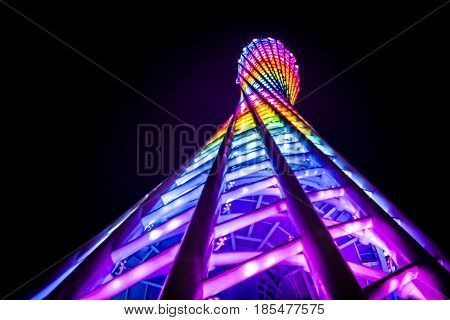 Guangzhou China - 1 October 2012: Details of the Canton Tower with colorful lights at nighttime