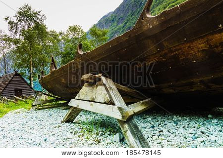 Part Of Old Wooden Viking Boat In Norwegian Nature