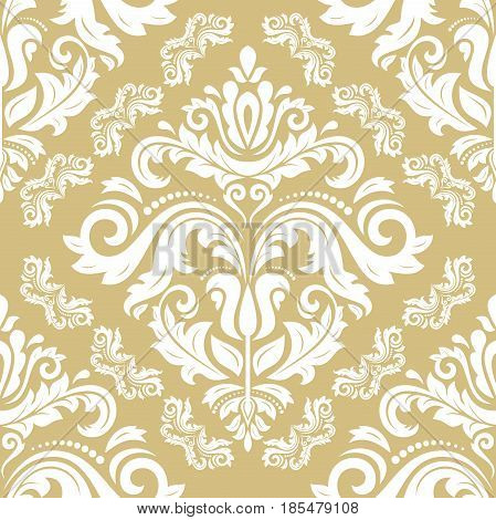 Orient vector classic pattern. Seamless abstract background with repeating elements. Orient golden and white background