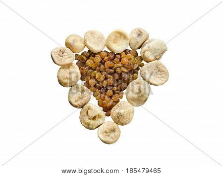 Assortment Of Dried Figs And Raisins In The Form Of Heart Isolated On White Background