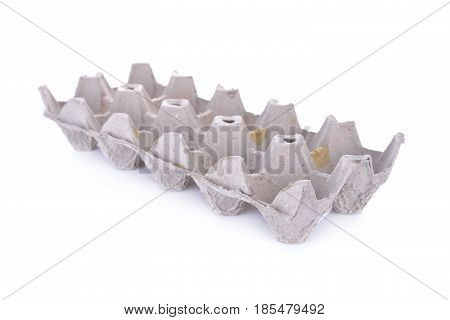 empty eggs paper tray on white background