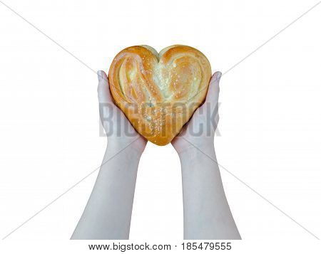 Bread In The Form Of Heart On Oak In Female Hands Isolated On White Background