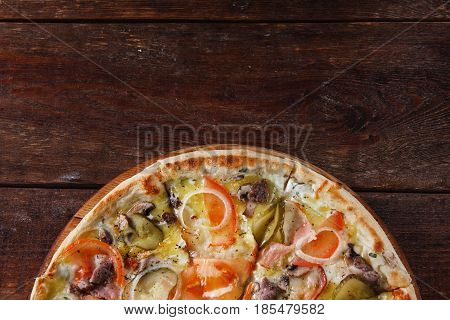 Pizza Traditional Cuisine Italian Appetizing Fast Food Restaurant Menu Concept